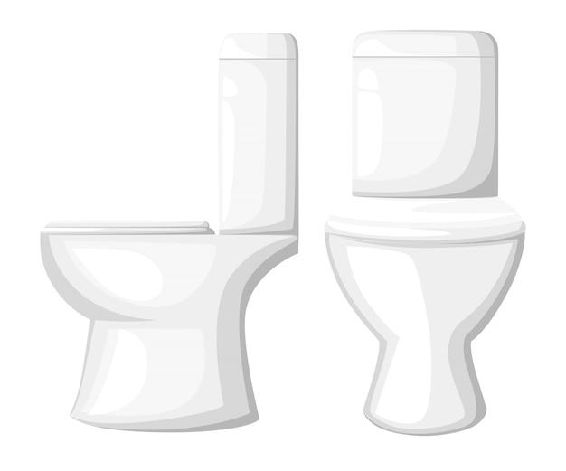 Illustrazione vicina del sedile della tazza del water in ceramica sulla pagina del sito web del fondo bianco e sull'app mobile Vettore Premium