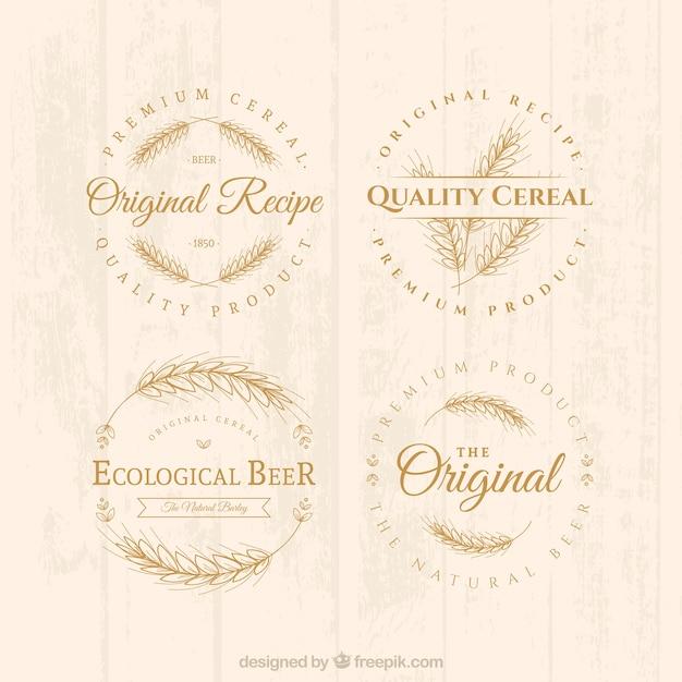 Distintivi di cereali Vettore Premium