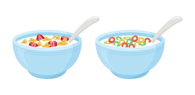 Colazione a base di latte di cereali. ciotola di avena rotolata, fiocchi colorati croccanti e dolci con fragole. illustrazione Vettore Premium
