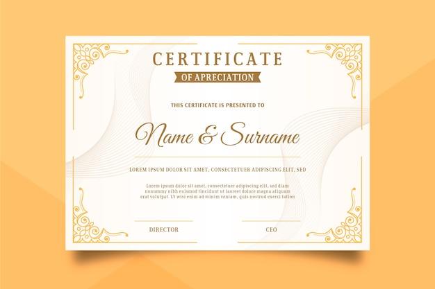 Modello di certificato in stile elegante Vettore Premium