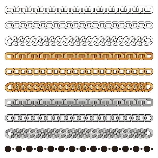 Catene set semplice: oro, argento, metallo e contorno. elemento di design di moda isolato su bianco Vettore Premium