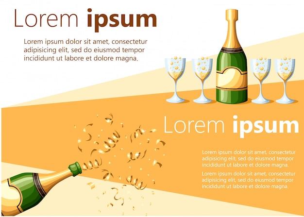 Bottiglia di champagne esplosione in lamina d'oro e versata nell'illustrazione di bicchieri su sfondo bianco e giallo con posto per la pagina del sito web di testo e l'app mobile Vettore Premium