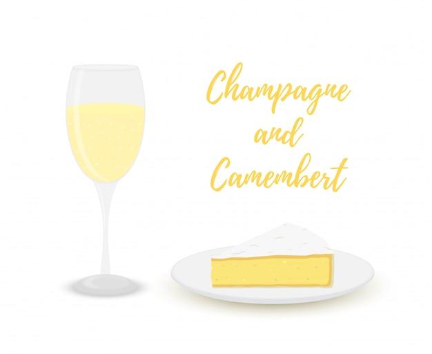Champagne con camembert, bicchiere con alcool e latticini. Vettore Premium
