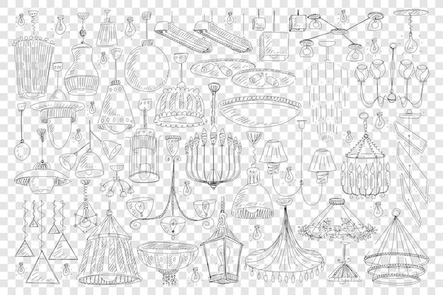 Lampadari per la decorazione domestica doodle set illustrazione Vettore Premium