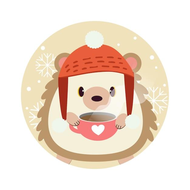 Il personaggio del riccio carino in piedi nel cerchio giallo con fiocco di neve. Vettore Premium