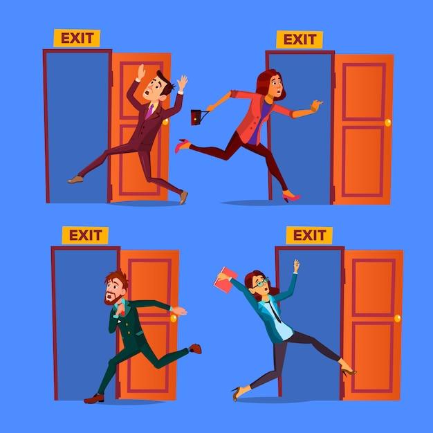 Evacuazione dei personaggi per aprire il set di uscita della porta Vettore Premium