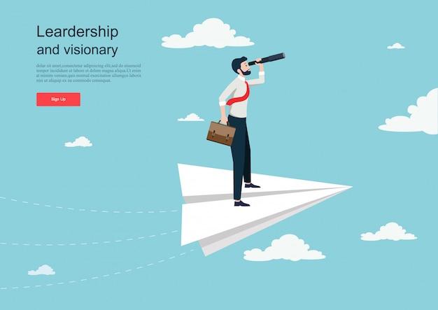 Carattere volando su un aereo di carta. concetto di visione aziendale modello di sfondo Vettore Premium