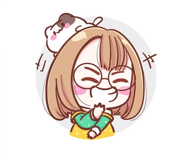 Carattere della ragazza felice che ride ad alta voce su sfondo bianco con il concetto di risata pazza. Vettore Premium