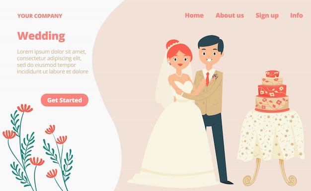 Pagina web tradizionale di atterraggio dell'abbigliamento di nozze delle coppie adorabili del carattere, illustrazione del fumetto del modello del sito web dell'insegna di concetto. Vettore Premium