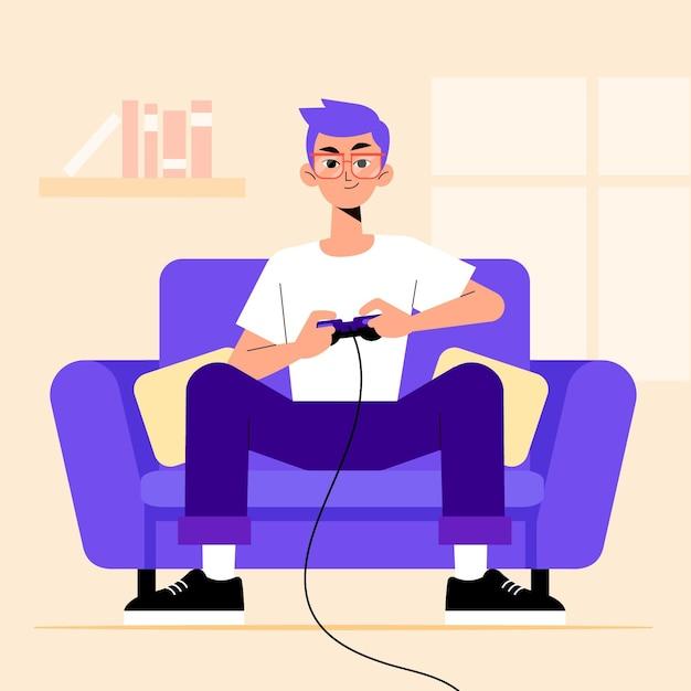 Carattere che gioca concetto di videogioco Vettore Premium