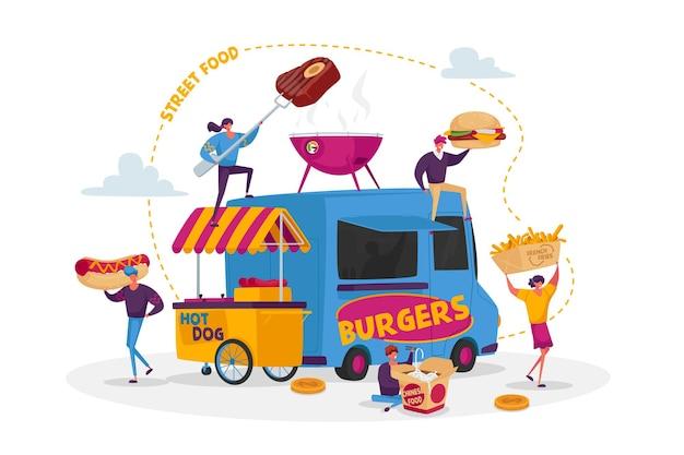 Caratteri acquisto street food concept Vettore Premium