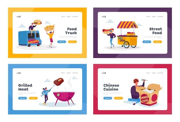 Personaggi che acquistano cibo di strada landing page template set Vettore Premium