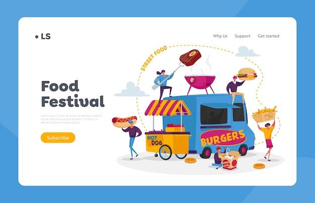 Personaggi che acquistano il modello di pagina di destinazione del cibo di strada Vettore Premium