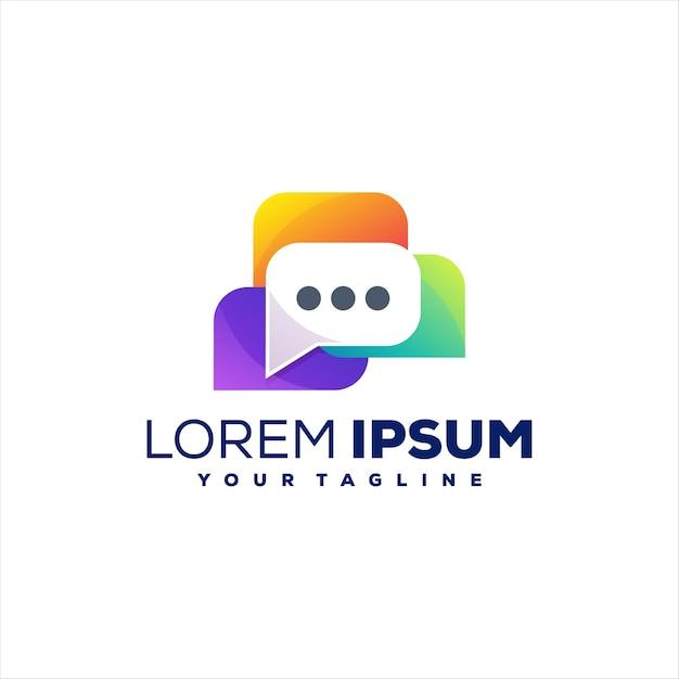 Chat design del logo a colori sfumati Vettore Premium