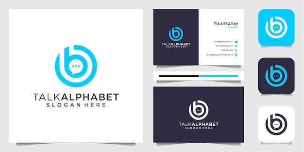 Chat e logo della lettera b con ispirazione per biglietti da visita Vettore Premium