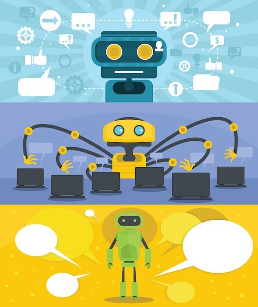 Chat sfondo del robot Vettore Premium