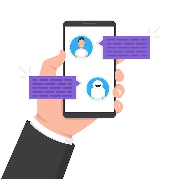 Concetto di chatbot. uomo in chat con bot di chat su smartphone Vettore Premium