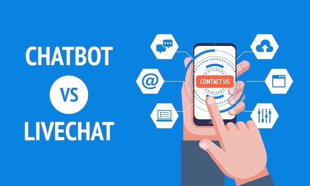 Chatbot vs livechat, Vettore Premium