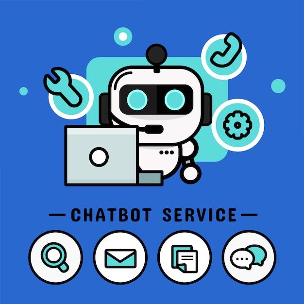 Chatbot con le cuffie. call center vector, design moderno vettoriale Vettore Premium