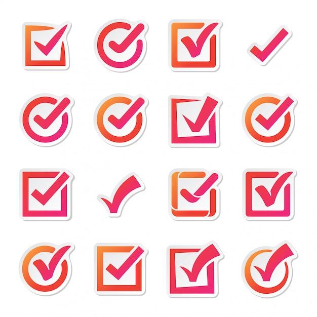 Insieme di vettore delle icone di vettore della casella di controllo Vettore Premium