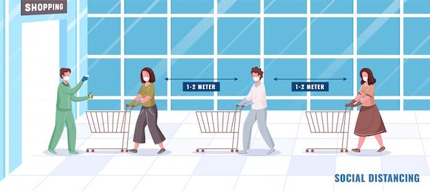 Controllare la temperatura corporea prima di fare acquisti e disinfettare le persone che mantengono la distanza sociale in coda con il carrello. Vettore Premium