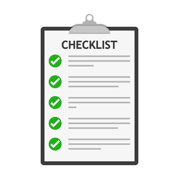 Lista di controllo isolata. lista di controllo appunti in design piatto Vettore Premium