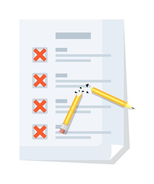 Lista di controllo con segno di croce, matita rotta isolata on white Vettore Premium