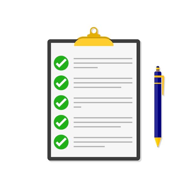 Lista di controllo con una penna. illustrazione. Vettore Premium