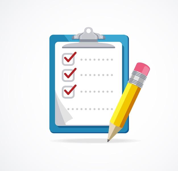 Lista di controllo con matita isolato su sfondo bianco. Vettore Premium