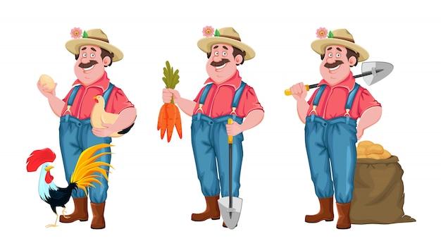 Allegro contadino, set di tre pose Vettore Premium
