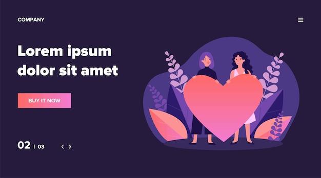 Allegro coppia gay femminile che tiene cuore rosso. donne omosessuali, lgbt, illustrazione lesbica. relazione, amore, concetto di matrimonio per banner, sito web o pagina web di destinazione Vettore Premium