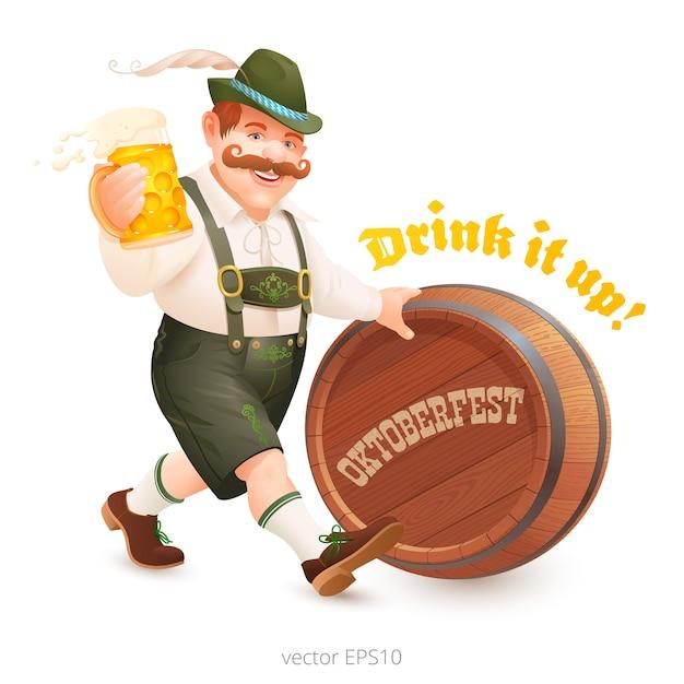 Uomo allegro in abito bavarese cammina alla festa dell'oktoberfest. l'amante della birra porta un boccale di birra e spinge un barile di legno. Vettore Premium
