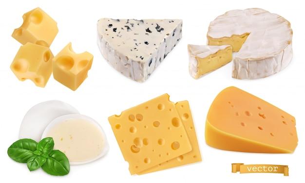 Oggetti vettoriali realistici di formaggio 3d, illustrazione del set di cibo Vettore Premium
