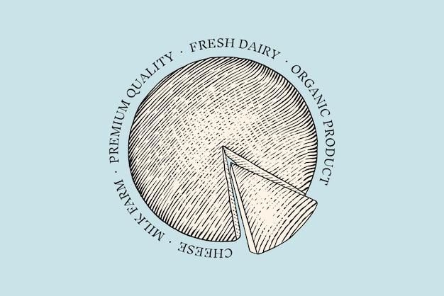 Distintivo di formaggio. logo vintage per mercato o drogheria. latte fresco biologico. Vettore Premium