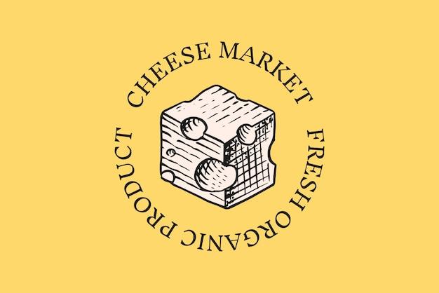 Distintivo di formaggio. logo vintage per mercato o drogheria. Vettore Premium