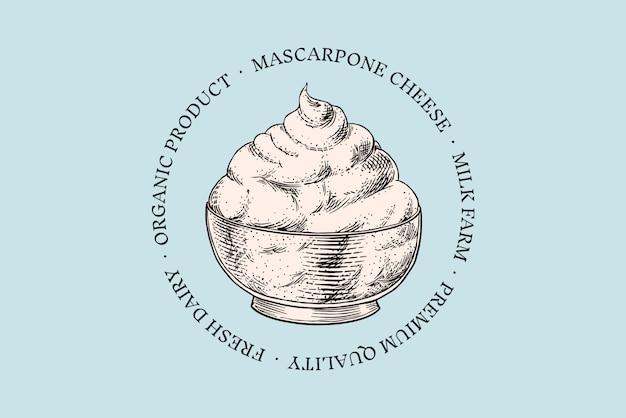 Distintivo di formaggio. logo mascrapone vintage per mercato o drogheria. latte fresco biologico. Vettore Premium