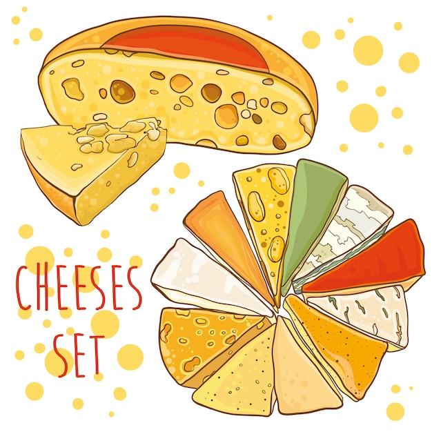 Raccolta di formaggi. illustrazione brillante con formaggi. impostato per . Vettore Premium