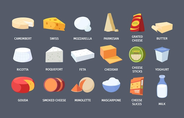 Set di formaggi e latticini Vettore Premium