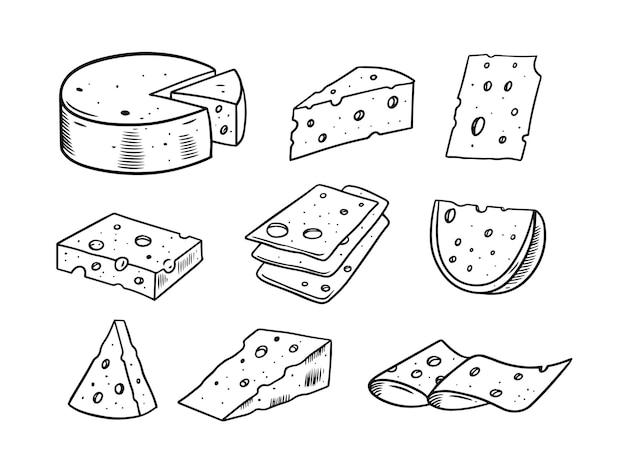 Illustrazione stabilita disegnata a mano di doodle di formaggio Vettore Premium