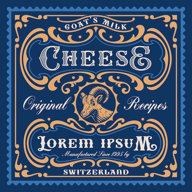 Un modello di pacchetto di formaggi in stile vintage, tutti gli elementi sono in gruppi separati e modificabili. Vettore Premium
