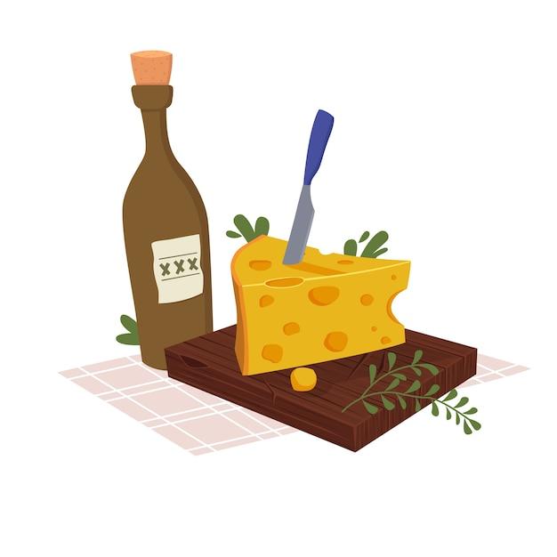 Formaggio su una tavola con una bottiglia di vino Vettore Premium