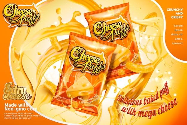 Confezione di bignè al formaggio con spruzzi di ingredienti, tonalità arancione Vettore Premium