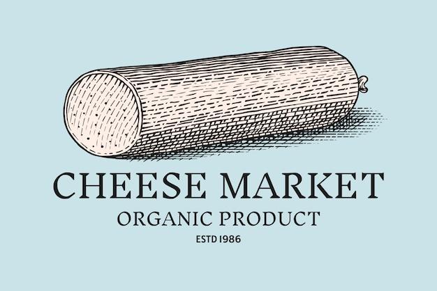 Distintivo di salsiccia di formaggio. logo vintage per mercato o drogheria. Vettore Premium