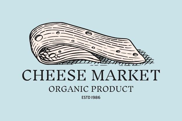 Distintivo di fetta di formaggio. logo vintage per mercato o drogheria. Vettore Premium