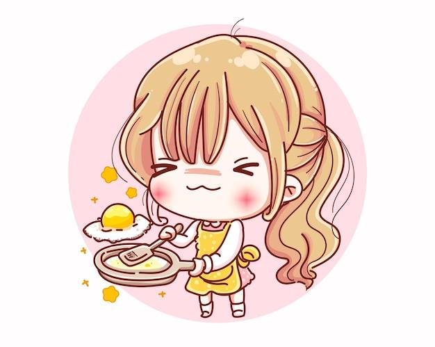 La ragazza del cuoco unico si prepara per cucinare il cibo e il design dei personaggi dei cartoni animati. Vettore Premium