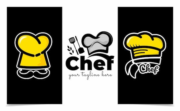 Modello di logo cappello da cuoco, ispirazione per il design del logo del ristorante e logo di panetteria Vettore Premium