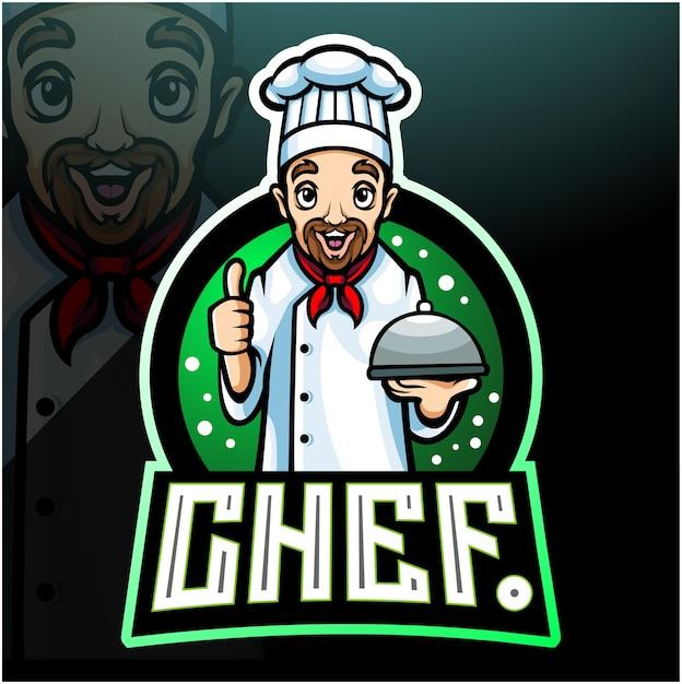 Mascotte dello chef. design del logo esport Vettore Premium