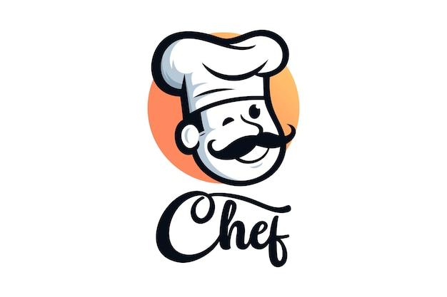 Illustrazioni di design del logo del ristorante chef Vettore Premium