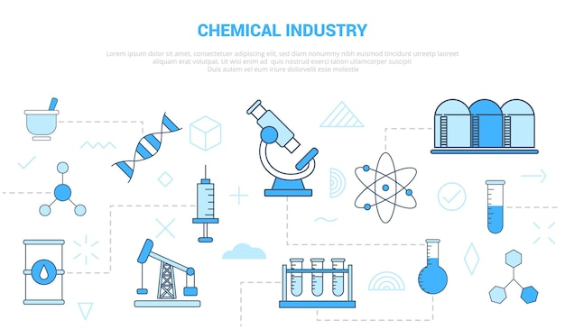 Benzina della siringa del dna del serbatoio del microscopio di concetto di industria chimica con il modello dell'insieme dell'icona con il colore blu moderno Vettore Premium