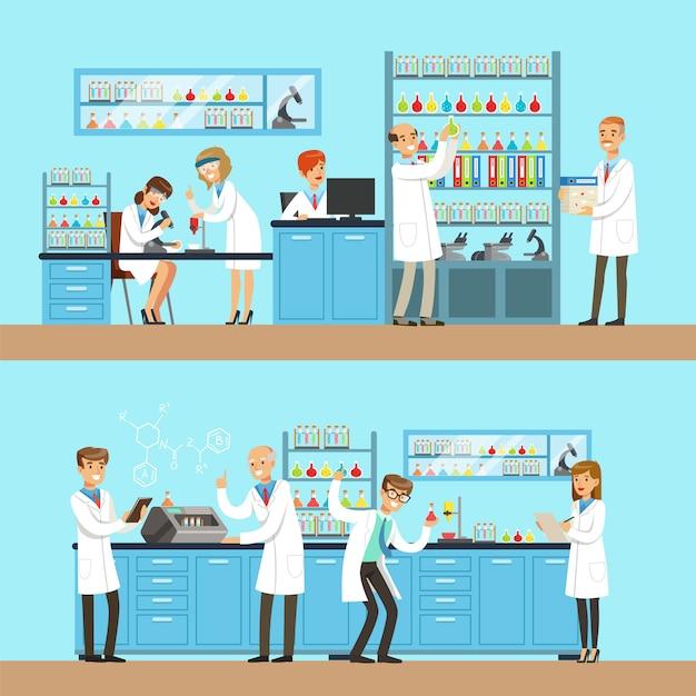 Chimici nel laboratorio di ricerca chimica facendo esperimenti ed eseguendo test chimici Vettore Premium